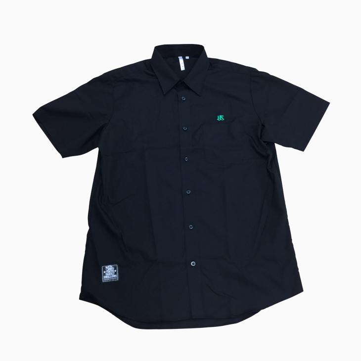 ブロードシャツ(刺繍)ブラック