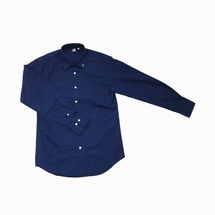 ロゴ入りブロードシャツ(ネイビー)