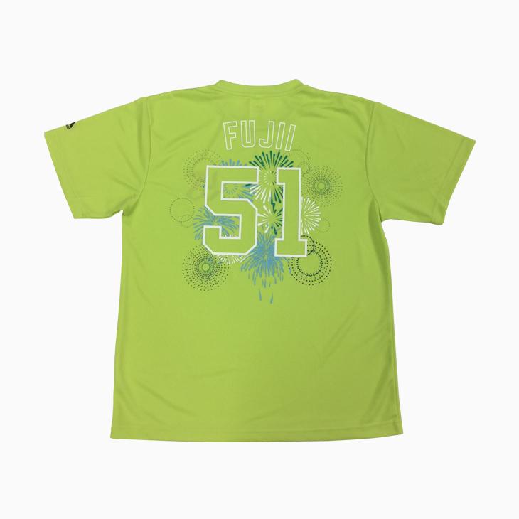 ネーム&ナンバードライTシャツ(花火柄)グリーン