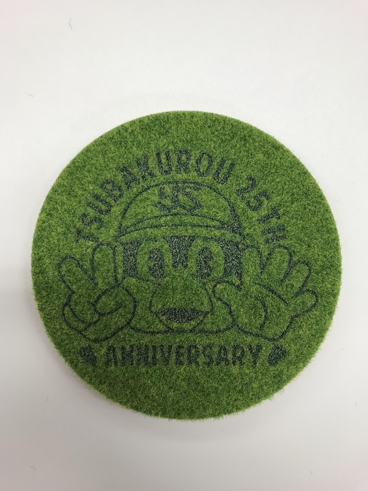 つば九郎25周年ロゴ芝生コースター