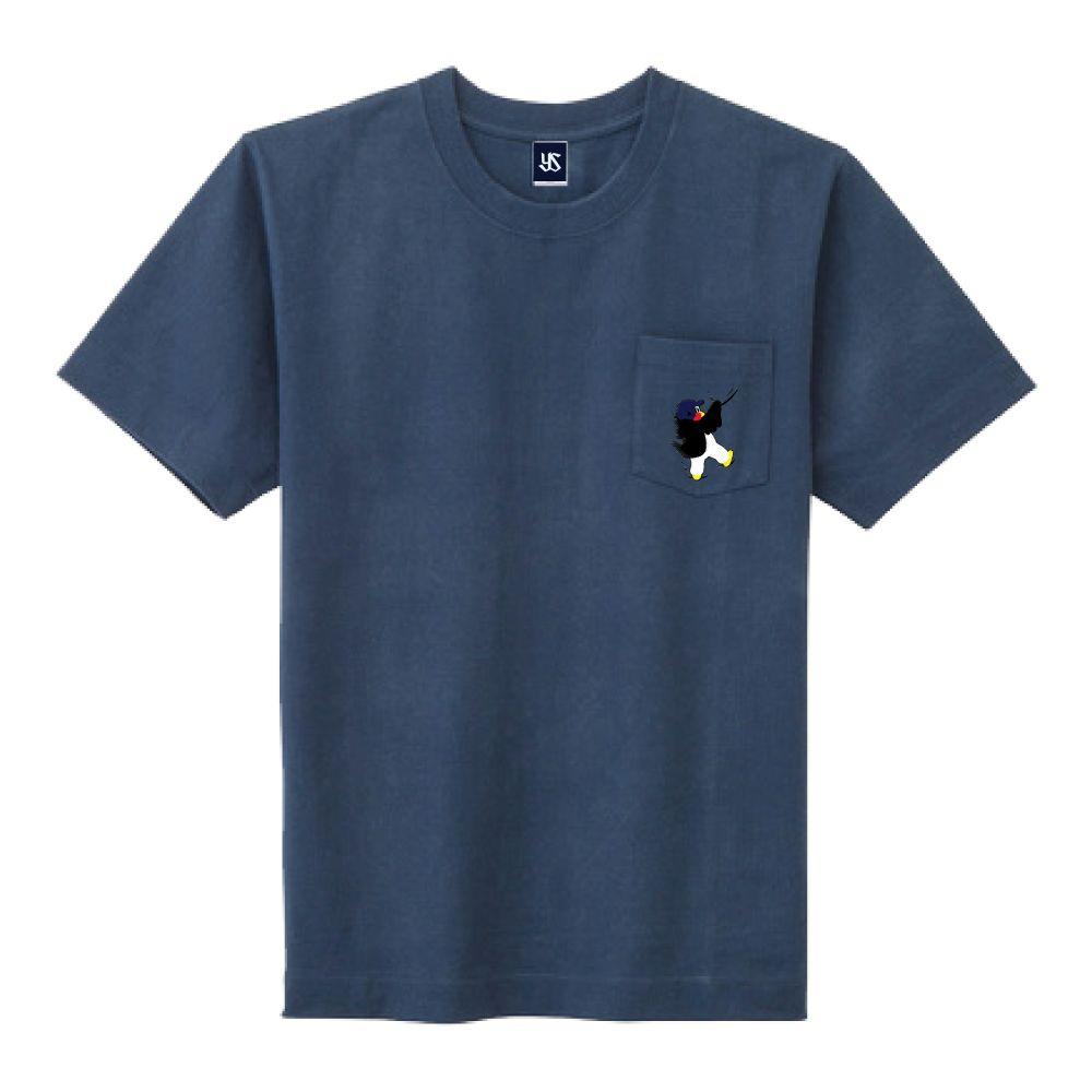 ポケット刺繍Tシャツ(しがみつくつば九郎)
