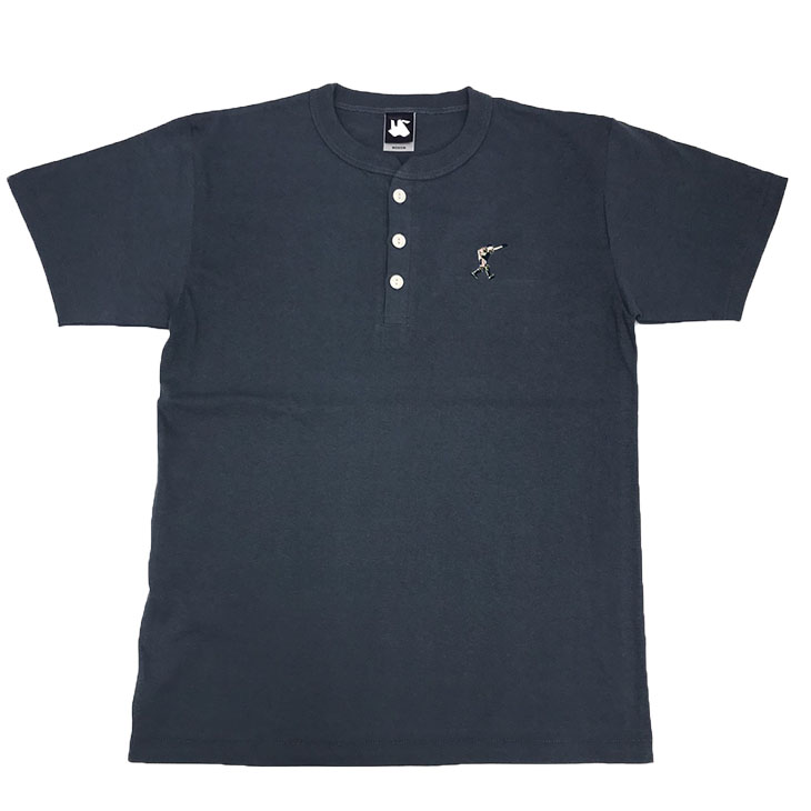 選手刺繍ヘンリーネックTシャツ(デニム)