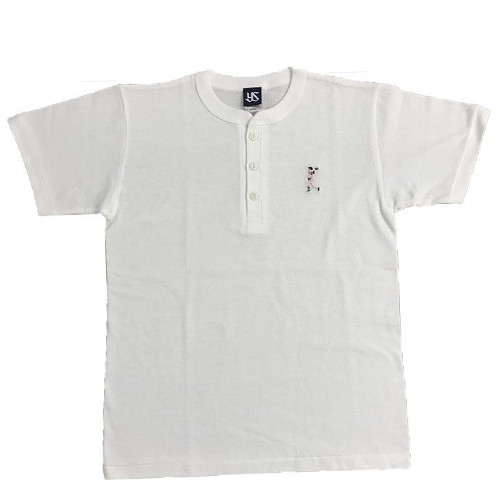 選手刺繍ヘンリーネックTシャツ(ナチュラル)