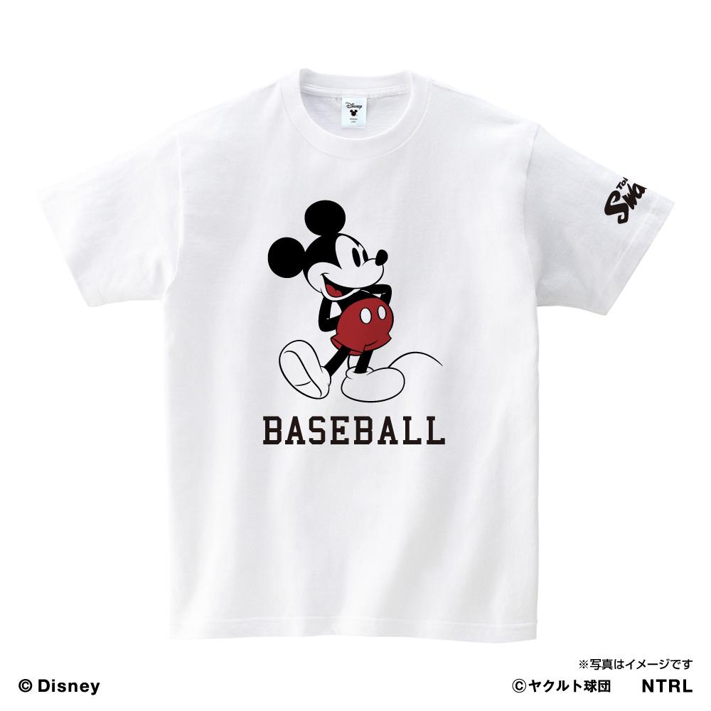 スワローズ×ミッキーマウスBASEBALL TシャツKIDS(ホワイト)
